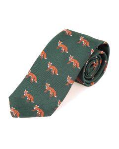 Seaward & Stearn London Woven Silk Tie - Green - Fox