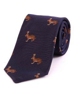 Seaward & Stearn of London Woven Silk Tie - Hare, Navy