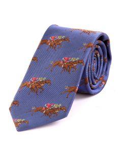 Seaward & Stearn of London Woven Silk Tie - Racehorse,  Blue