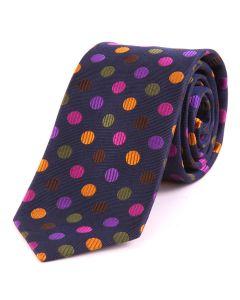 Seaward & Stearn of London Luxury Silk Tie - Navy with Multi Spot