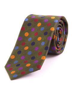 Seaward & Stearn of London Luxury Silk Tie - Olive with Multi Spot