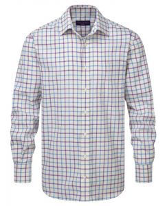Seaward & Stearn of London Windsor Shirt; woven cotton Italian checked shirt. Blue and Lilac Check