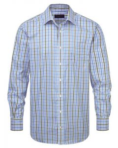 Seaward & Stearn Small Checked Shirt. Men's, classic, small checked shirt in blue and brown.