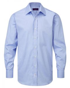 Seaward & Stearn of London, Italian Cotton Herringbone Shirt, Blue Herringbone