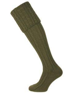 The Skye Cashmere Shooting Sock, Dark Olive