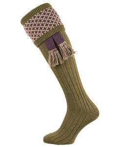 The Whitley Dark Olive Shooting Sock with Garter