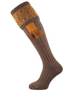 The Brierley Shooting Sock & Garter Set - Bison & Mustard