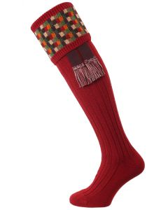 The Ashton Shooting Sock with Garter, Cranberry