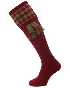 The Chessboard Shooting Sock, Burgundy & Bracken