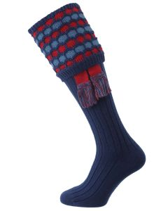 "The ""Big Bee"" Honeycomb Sock with Garter, Navy, Cranberry & Ancient Blue"