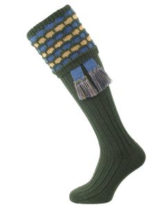 "The ""Big Bee"" Honeycomb Sock with Garter, Spruce, Blue Mix & Camel"