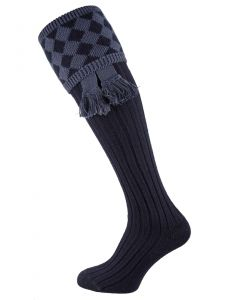 The Chessboard Shooting Sock - Navy
