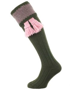 The Penrith Shooting Sock, Olive and Pink