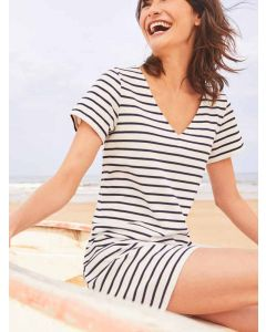 Joules Riviera V Neck Jersey Dress, Cream Navy Stripe 204808