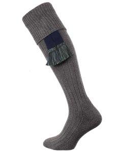 The Dormington Cushion Sole Cotton Shooting Sock, Nimbus Marl