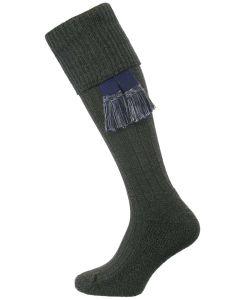 The Dormington Cushion Sole Cotton Shooting Sock, Seaweed Marl
