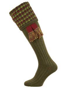 The Honeycomb Spruce Merino Blend Shooting Sock with Garter