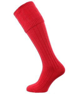 The Berrington Cotton Cable Knit Shooting Sock with optional garter, Hollyberry Red