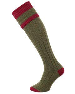 The Willersley Shooting Sock, Greenacre & Cherry