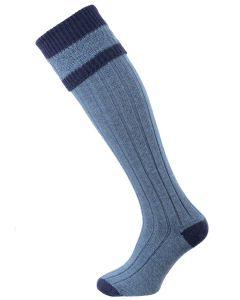 The Willersley Shooting Sock, Periwinkle & Midnight
