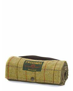 Tweedmill Walker Companion Tweed Picnic Rug with Waterproof Backing - Green Tweed with Chocolate Brown