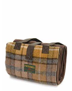 Tweedmill 'Leisure' Picnic Rug with Waterproof back - Chocolate / Brown / Natural Buchanan