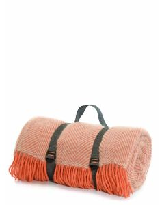 Tweedmill Polo Pure New Wool Picnic Rug with Waterproof Backing & webbing straps - Flamingo & Pearl/Grey - 145 x 183cms