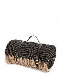 Tweedmill Polo Pure New Wool Picnic Rug with Waterproof Backing & leather straps - Herringbone Vintage/Brown - 145 x 183cms