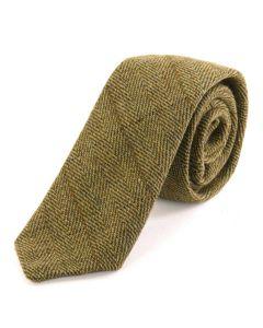 Tweedmill Gentlemen's Woollen Tweed Tie - Light Olive