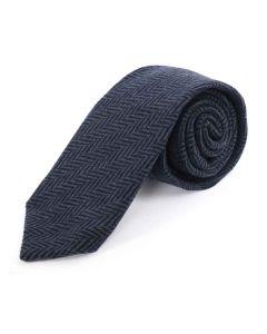 Tweedmill Gentlemen's Woollen Tweed Tie - Navy Herringbone