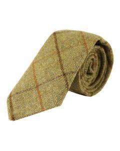 Tweedmill Gentlemen's Woollen Tweed Tie - Olive Herringbone