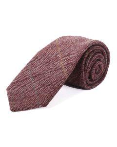 Tweedmill Gentlemen's Woollen Tweed Tie - Plum Herringbone