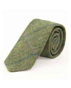 Tweedmill Gentlemen's Woollen Tweed Tie - Sea Green Herringbone