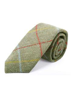 Tweedmill Gentlemen's Woollen Tweed Tie - Sage Herringbone Window Pane Check with Red, Yellow & Sky