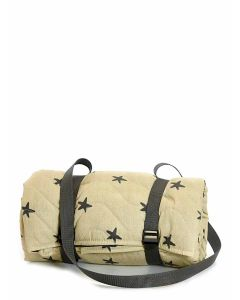 Tweedmill Newbury Quilted Cotton Picnic Rug with Waterproof Backing and Carry Strap - Star / Grey - 125cm x 125cm