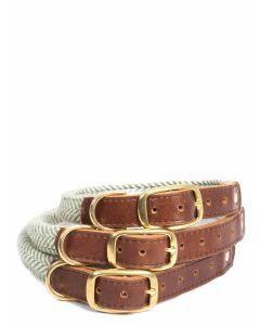 Tweedmill Rolled Tweed Collar with brass buckle - Herringbone Olive