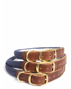 Tweedmill Rolled Tweed Collar with brass buckle - Herringbone Navy
