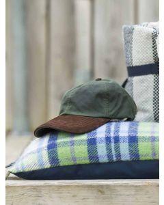 Tweedmill Waxed Baseball Cap with Leather Peak - Green