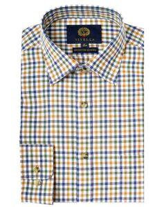 Viyella Men's Club Check Shirt, Russet. 80% Wool 20% Cotton Blend