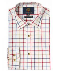 Navy & Red Men's Viyella Cotton and Wool Blend Tattersall Checked Shirt