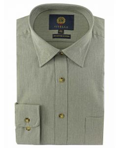 Viyella Men's Cotton & Wool Blend Shirt, Green Melange