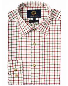 Viyella 80/20 Blend Tattersall Men's Shirt, Red & Green