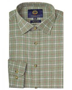 Viyella Cotton Melange Check Shirt, Green Ground Check