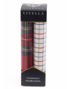 Viyella Gentlemen's Handkerchief Twin Pack, Classic Rouge Tartan