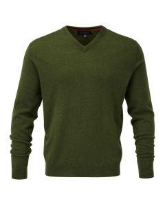 Viyella Men's Merino Wool V Neck Jumper, Dill