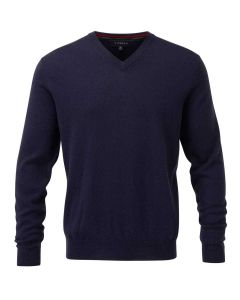 Viyella Men's Merino Wool V Neck Jumper, Navy Blue