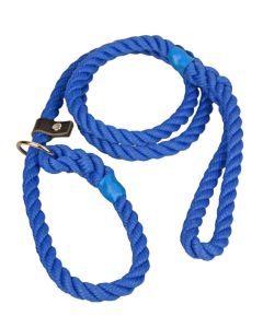 12mm Heavyweight Rope Dog Slip Lead with Leather Stopper, Matt Blue
