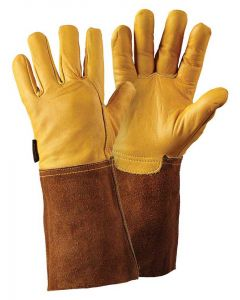 Briers Ultimate Golden Leather Gauntlet Gloves, Golden Leather with Suede Upper