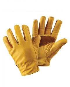 Briers Premium Golden Leather Gardening Gloves, with Suede Reinforcement to the palm