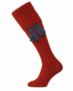 The Wye Cable Knit Shooting Sock - Brick Red